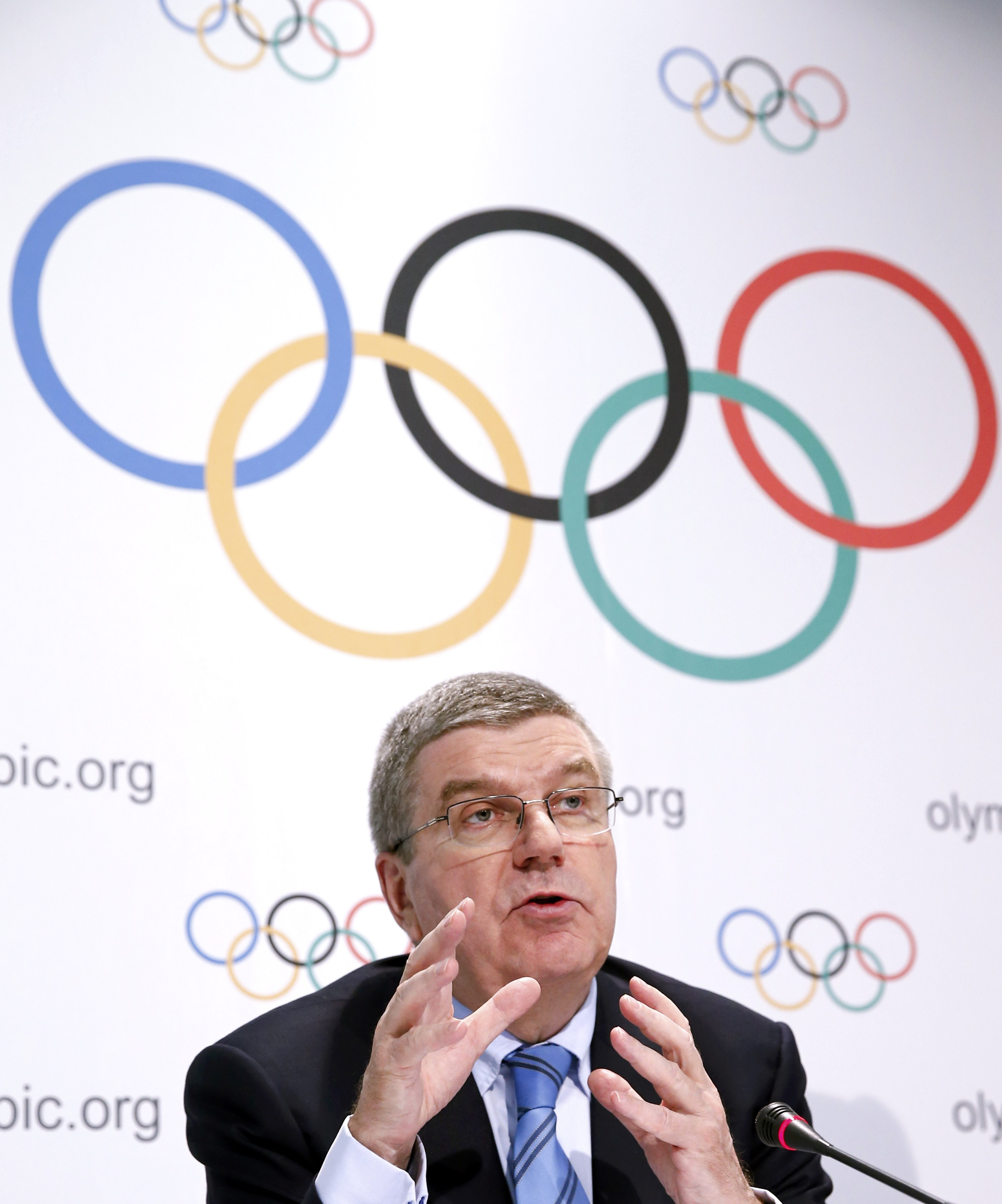 International Olympic Committee (IOC) President Thomas Bach addresses a news conference in Lausanne, Switzerland, December 10, 2015. Photo: Reuters
