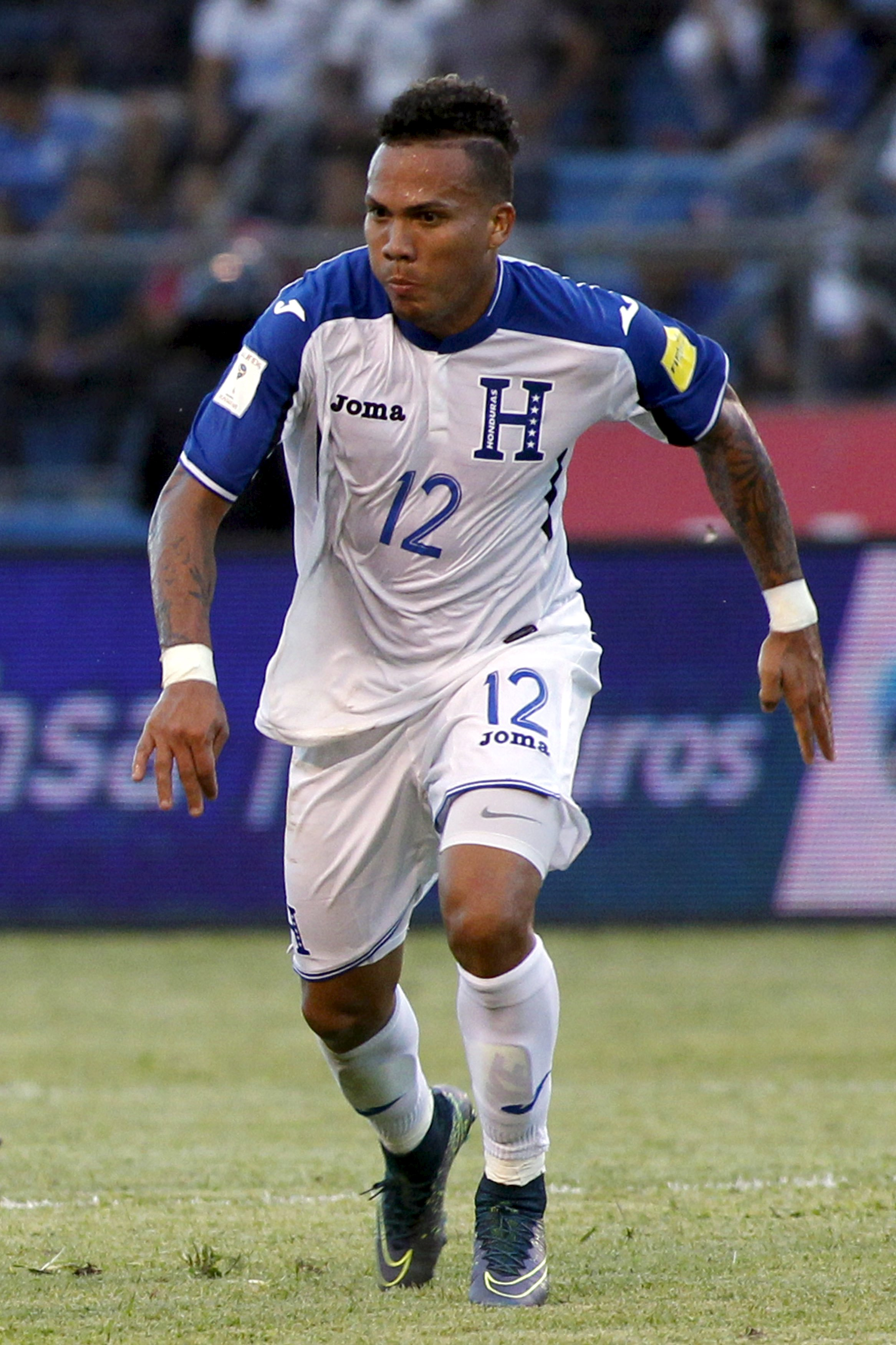 Arnold Peralta of Honduras is seen during their 2018 World Cup qualifying soccer match against Mexico at Olimpico stadium in San Pedro Sula, Honduras, in this November 17, 2015. Photo: Reuters
