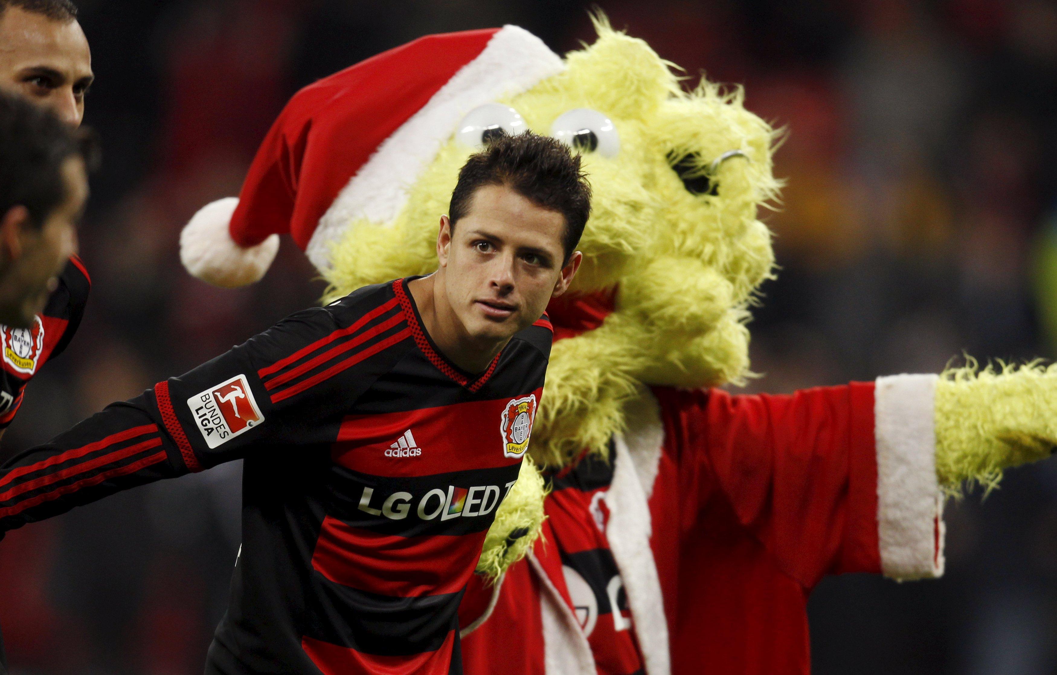 Bayer Leverkusen's Javier Hernandez celebrates 5-0 victory against  Borussia Moenchengladbach with the Leverkusen at Bay Arena on December 12, 2015. Photo: Reuters