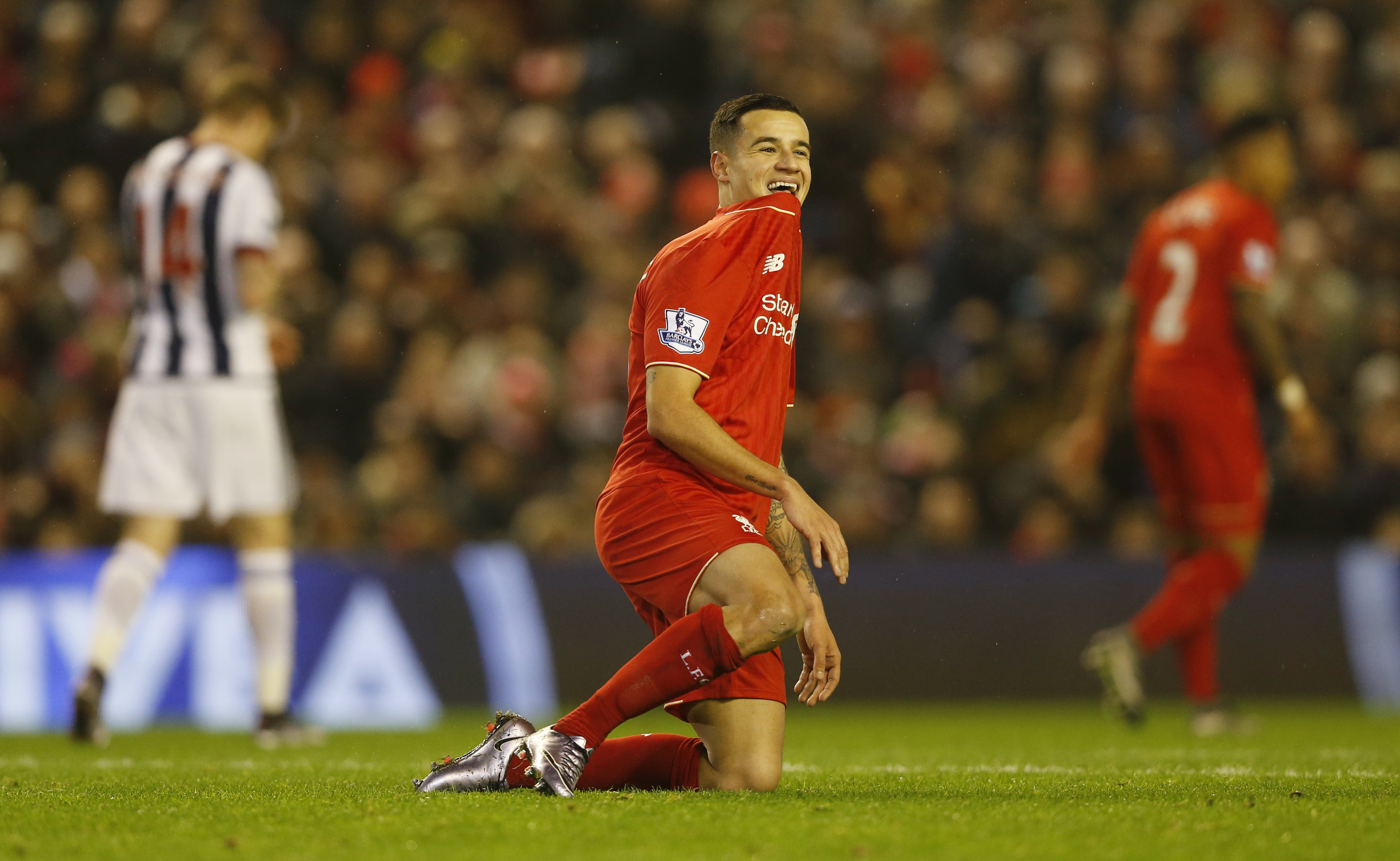 Liverpool's Philippe Coutinho reacts during Barclays Premier League match against West Bromwich Albion at Anfield on December 13, 2015. Photo: Reuters