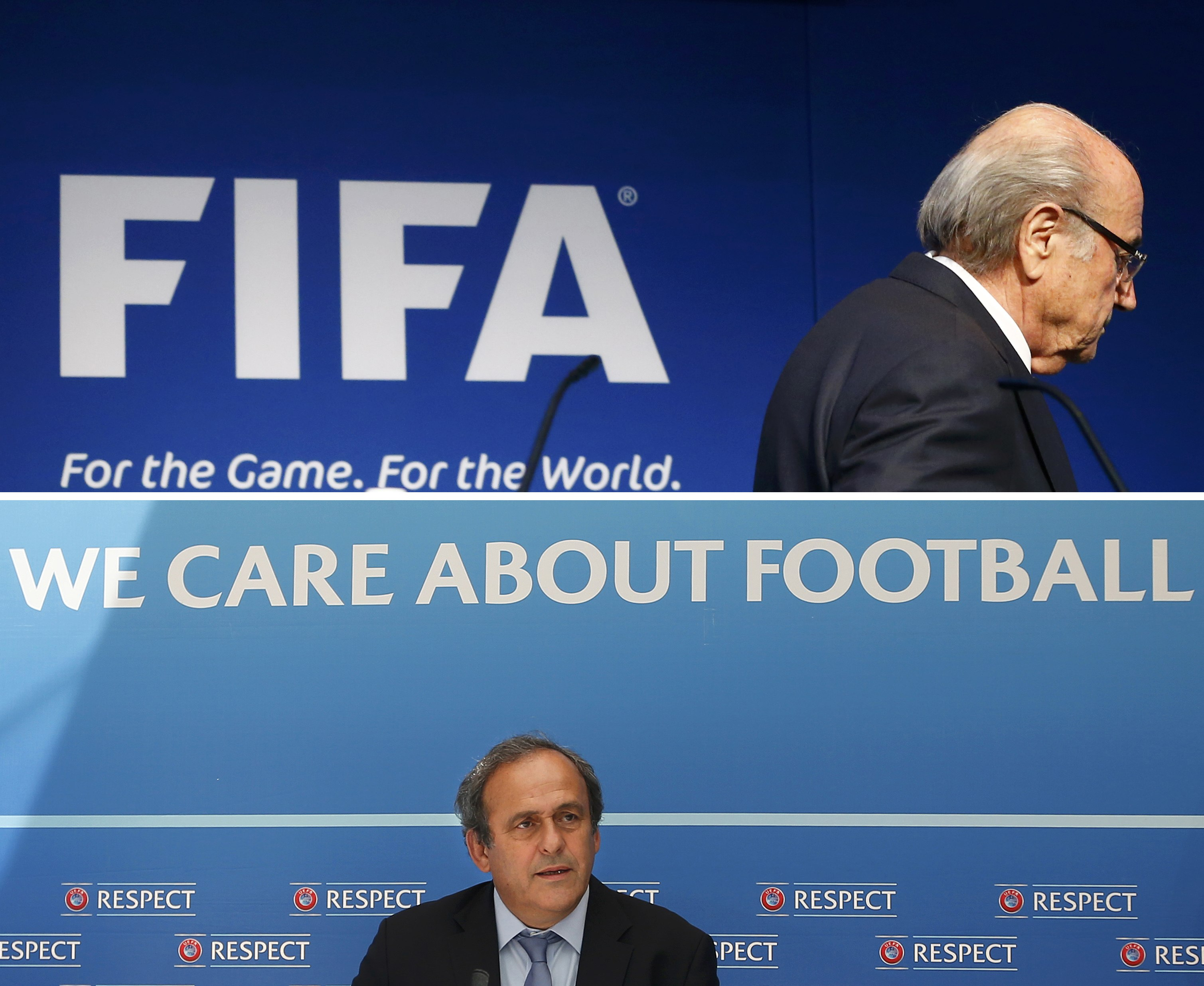 Combination file photograph of FIFA President Sepp Blatter leaving after his statement at the FIFA headquarters in Zurich, Switzerland, June 2, 2015 and UEFA President Michel Platini (lower) attending a news conference in Monte Carlo, Monaco August 28, 2015. Photo: Reuters