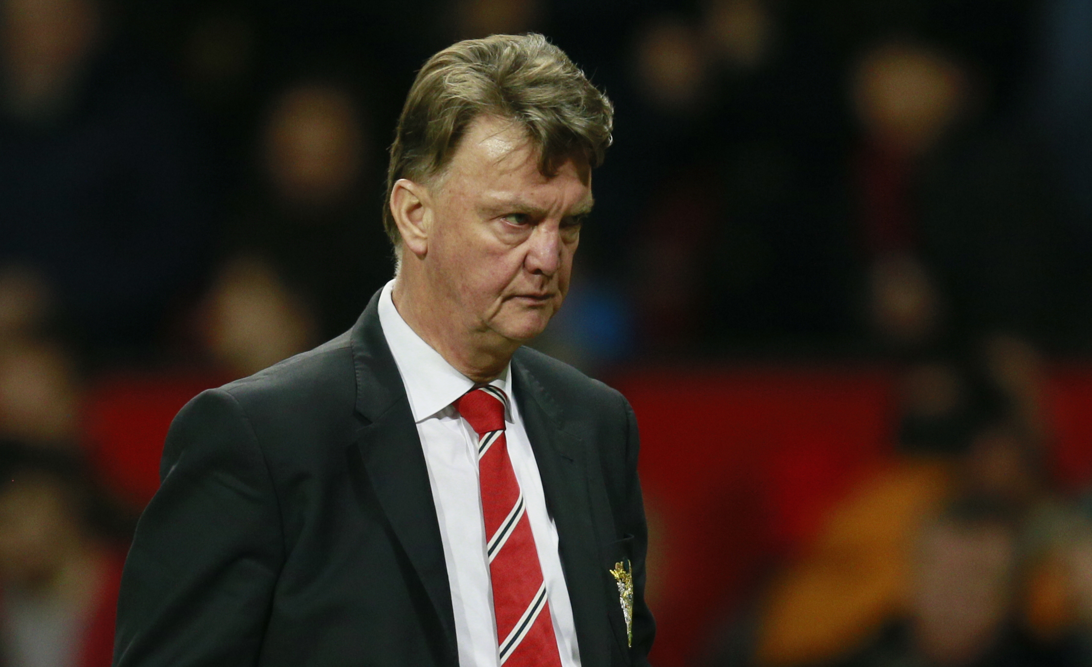 Manchester United's manager Louis van Gaal looks dejected after Barclays Premier League game against Chelsea at Old Traffor, on Monday, December 29, 2015. Photo: Reuters