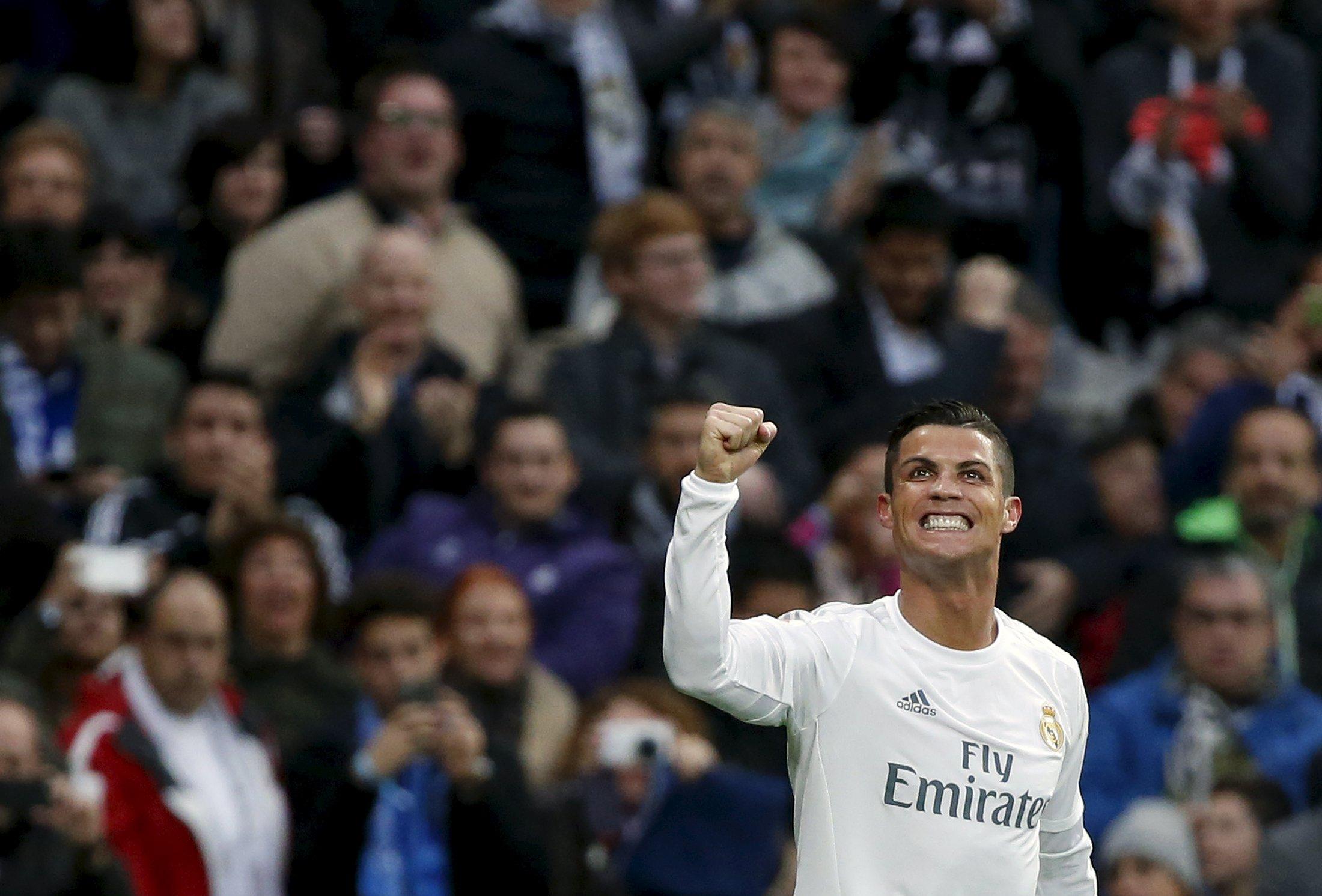 Real Madrid's Cristiano Ronaldo celebrates his second goal against Real Sociedad at Santiago Bernabau Stadium on Wednesday, December 30, 2015. Photo: Reuters