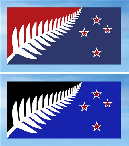 This combination of undated illustrations provided by the New Zealand Government shows two flag designs; Silver Fern (Red, White and Blue), top, and Silver Fern (Black, White and Blue), bottom, both by Kyle Lockwood, which New Zealanders are considering as a possible new national flag. New Zealanders have chosen a design for a possible new national flag with preliminary results from a postal ballot announced Friday, Dec. 11, 2015, with the results too close to call between two flags featuring the country's iconic silver fern sitting next to the stars that make up the Southern Cross constellation, but using different colors. The winner will be announced Tuesday once all votes are counted. The flag will then be pitted head-to-head against the current flag in a second vote to be held in March. Photo: AP