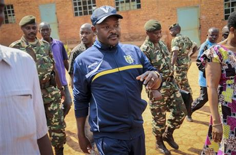 FILE - In this Tuesday, July 21, 2015 file photo, Burundi's President Pierre Nkurunziza walks to a polling station to cast his vote for the presidential election, in his hometown of Ngozi, Burundi. Photo: AP