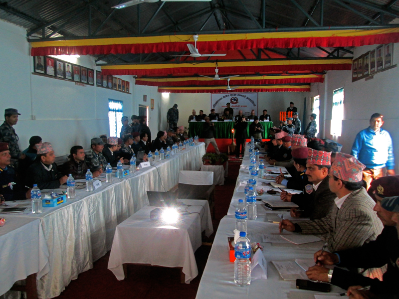Home Minister Shakti Bahadur Basnet interacts with security officials of  Gandaki and Dhaulagri zones in Pokhara on Wednesday, December 9, 2015. Photo: Rishi Ram Baral