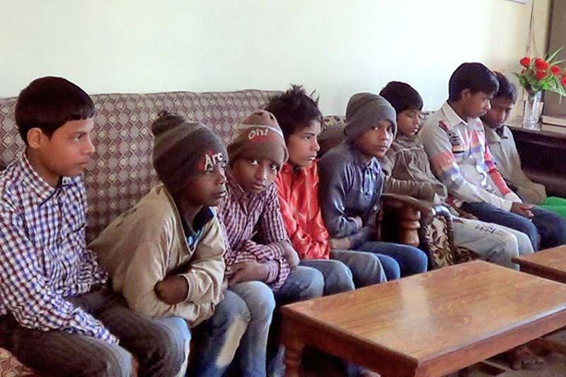 File - Child labourers rescued from Muzaffarpur of India sit in an office of the District Administration Office, Rautahat, on Tuesday, December 29, 2015. Photo: Prabhat Kumar Jha/  THT
