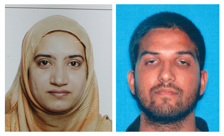 This undated combination of photos provided by the FBI, left, and the California Department of Motor Vehicles shows Tashfeen Malik, left, and Syed Farook. Photo: AP