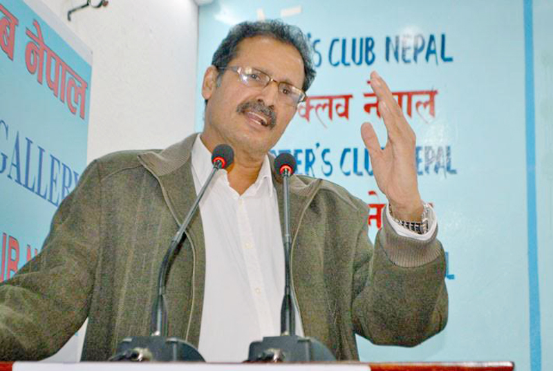 Minister for Forest and Soil Conservation Agni Prasad Sapkota speaking at an interaction programme organised by Reporters Club in Kathmandu, on Friday, December 4, 2015. Photo: Report Club