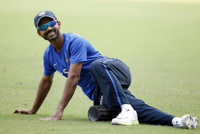 File photo of India's Ajinkya Rahane exercises during a practice session in Nagpur, India, November 24, 2015.  REUTERS/Amit Dave/Files