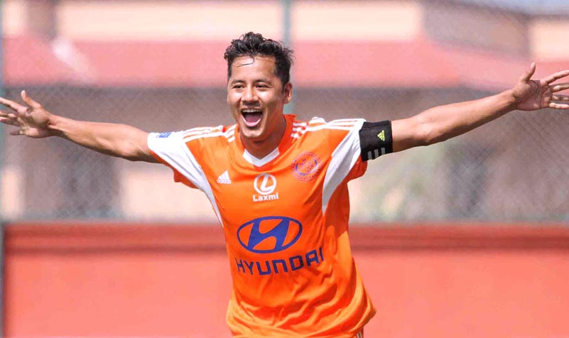 Anil Gurung, the skipper of Manang Marsyangdi Club, celebrates goal against Far Western Football Club during their Red Bull National League match at ANFA Complex in Lalitpur in this undated file photo. Photo: Udipt Singh Chhetry/ THT File