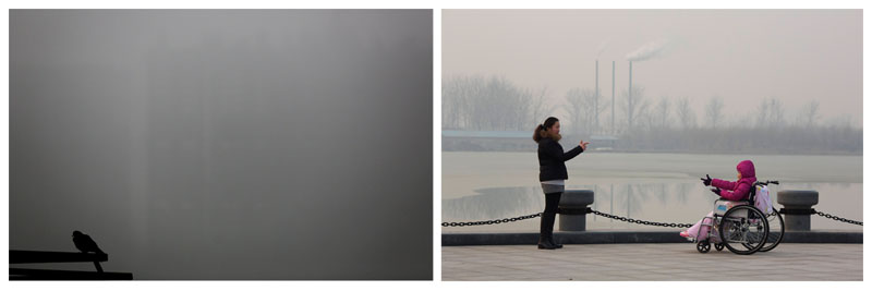 In a combo, a pigeon is seen during foggy and polluted morning in the outskirts of New Delhi, India on Saturday, December 12, 2015 (left) and visitors to a park gestures at each other near chimneys spewing smoke in Beijing, China on Saturday, December 12, 2015. Photo: AP