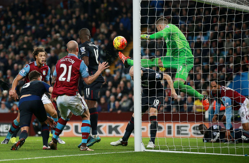 West Ham United goalkeeper Adrian clears off the line during the English Premier League soccer match against Aston Villa at Villa Park, Birmingham, England, on Saturday December 26, 2015. Photo: AP
