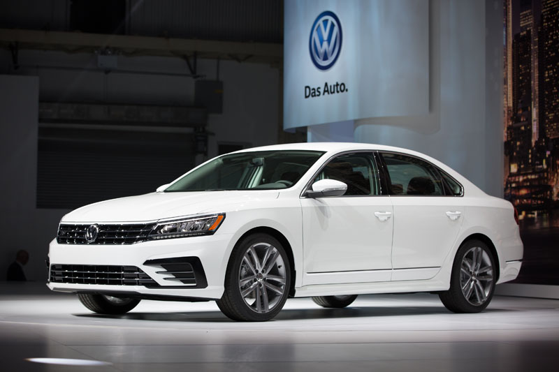 The Volkswagen Passat is displayed during a reveal event at the Brooklyn Navy Yard in New York.   Volkswagen's emissions-cheating scandal took a serious bite out of the company's US sales last month on September 21, 2015. Photo: AP