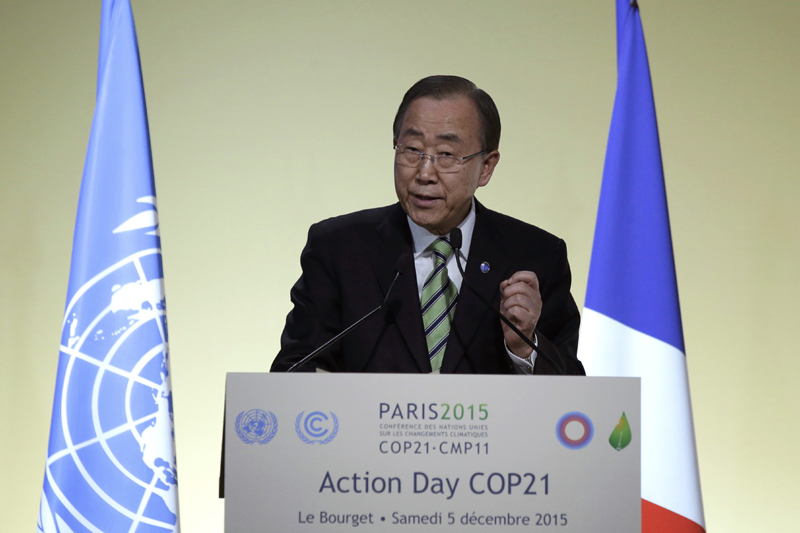 United Nations Secretary General Ban Ki-moon delivers his speech during the Action Day at the World Climate Change Conference 2015 (COP21) at Le Bourget, near Paris, France, December 5, 2015. Photo: Reuters