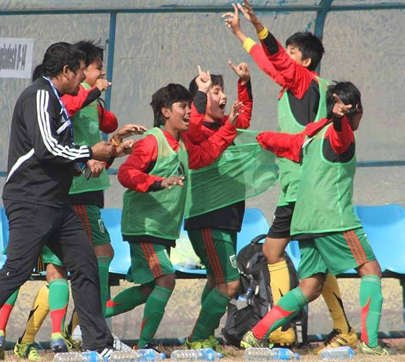Bangladeshi players celebrate a goal during the final of AFC U-14 Girls' Regional Championship, played in Lalitpur, on Sunday, December 20, 2015. Courtesy: Goalnepal.com