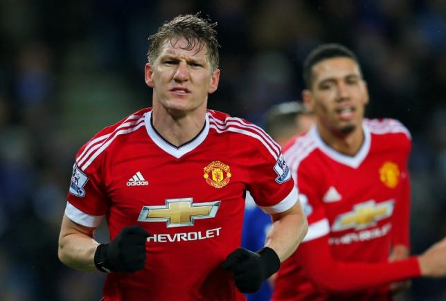 Football - Leicester City v Manchester United - Barclays Premier League - King Power Stadium - 28/11/15. Manchester United's Bastian Schweinsteiger celebrates scoring their first goal. Reuters / Eddie Keogh. Livepic