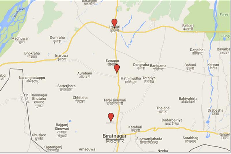 Biratnagar-Duhabi-Itahari. Source: Google Maps