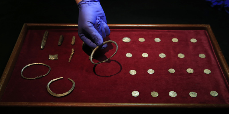 A close up of some of the jewellery and ingots of a significant Viking Hoard found near Watlington, in Oxfordshire, England as they are displayed at the British Museum in London, on Thursday, December 10, 2015. Photo: AP