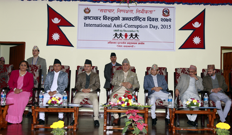 Commission for the Investigation of Abuse of Authority Chief Lokman Singh Karki (c) at a function organised by the Commission on the occasion of the International Anti-Corruption Day in Kathmandu, on Wednesday, December 9, 2015. Photo: RSS