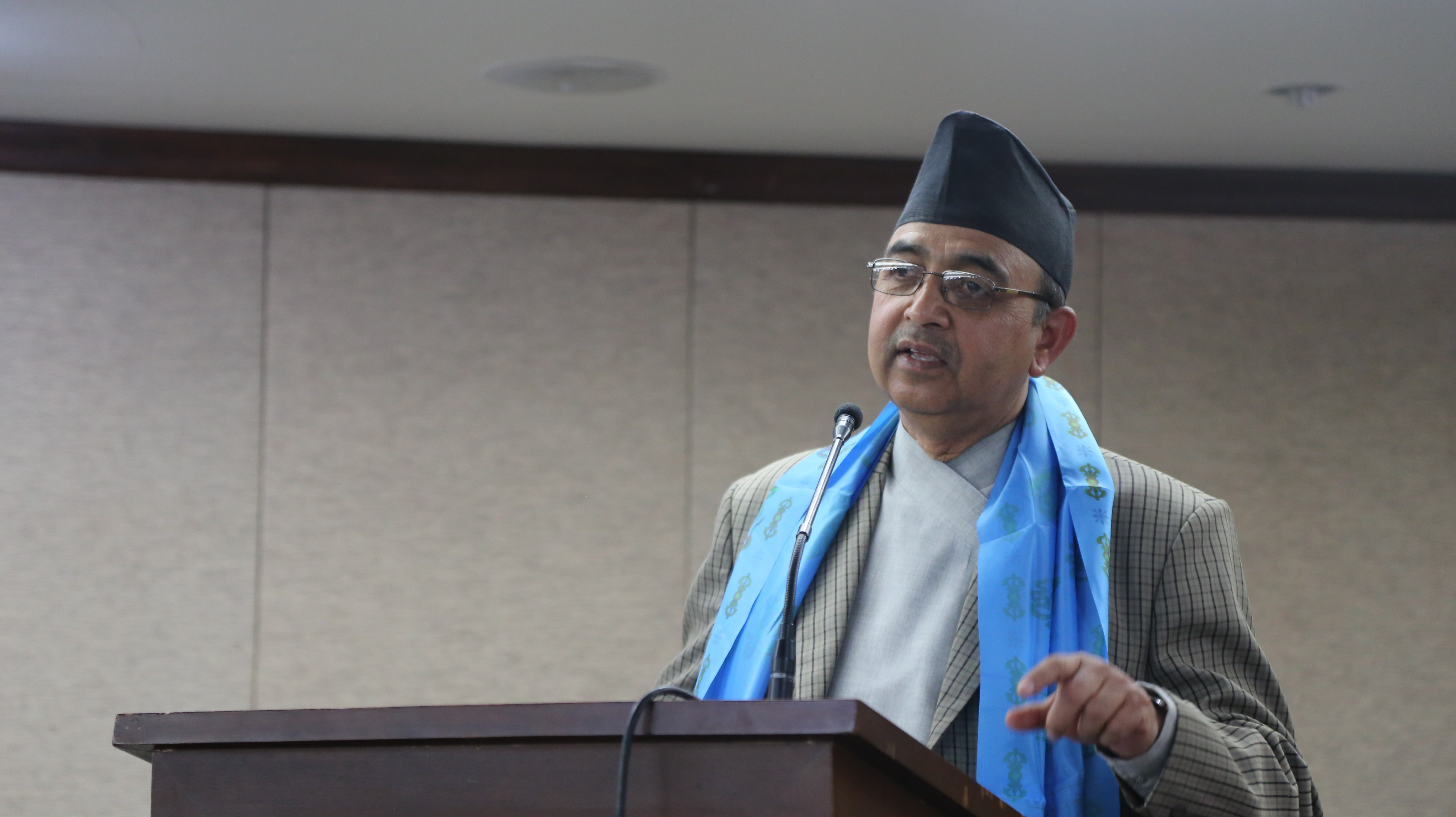 Deputy Prime Minister and Minister for Women, Children and Social Welfare CP Mainali speaking at an inauguration programme of the Destination Unknown Children on Move (DUCOM) in Kathmandu, on Friday, December 4, 2015. Courtesy: CWISH
