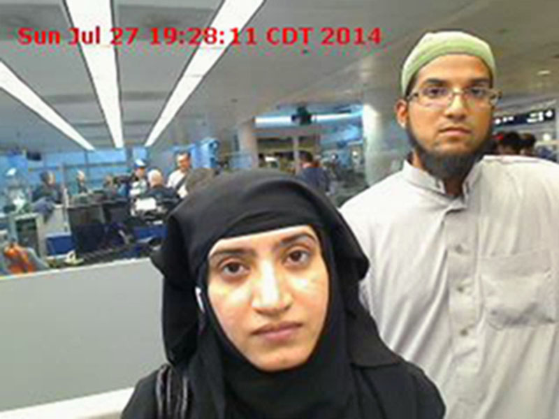 US Customs and Border Protection shows Tashfeen Malik (left) and Syed Farook, as they passed through O'Hare International Airport in Chicago on July 27, 2014. Photo: AP/Fiile