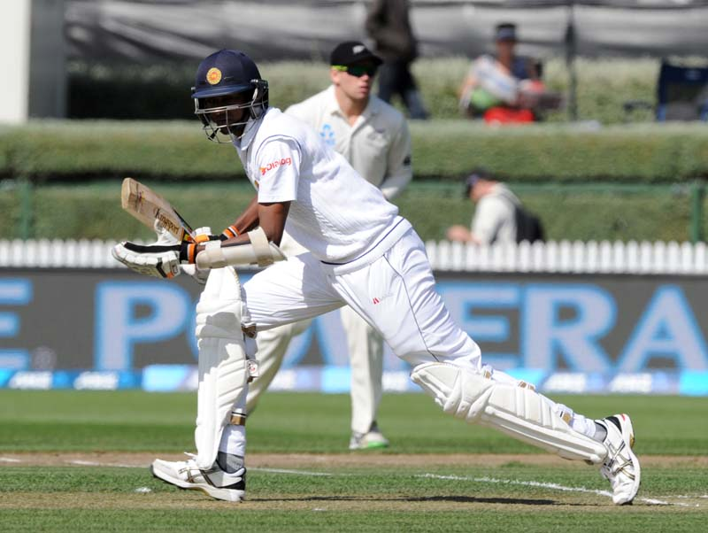 Sri Lanka's Dushmantha Chameera runs between the wickets during their second Test match against New Zealand at the Seddon Park in Hamilton on Saturday. Photo: AP