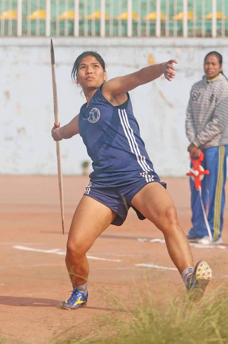 Chandra Lamgade of Nepal Police Club throws Javelin during an open selection tournament for the 12th South Asian Games at the Dasharath Stadium on Thursday. Photo: Udipt Singh Chhetry