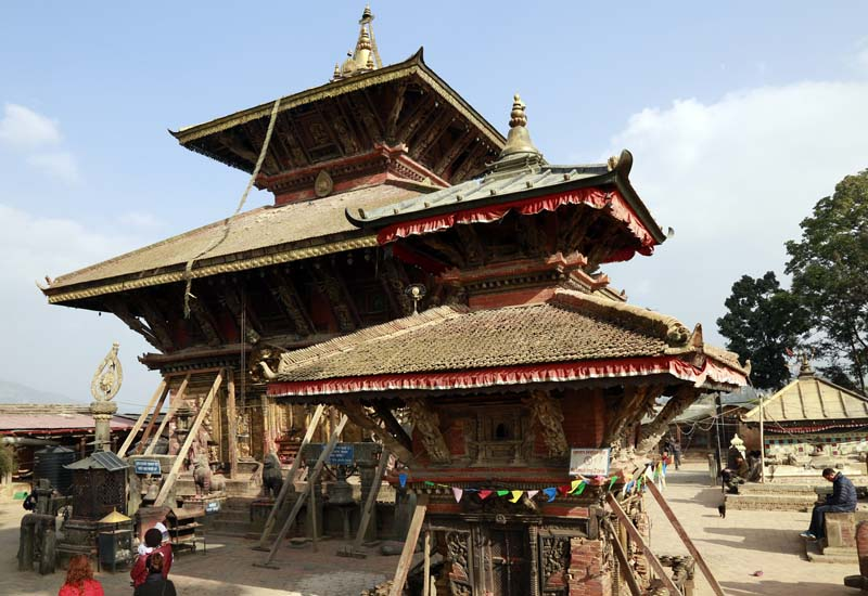 Quake-hit Changu Narayan Temple, enlisted in the UNESCOu2019s world heritage sites, is supported by wooden poles in Changu Narayan, Bhaktapur. Reconstruction process of the temple is yet to begin even after eight months of the devastating earthquake of April 25. Photo: RSS