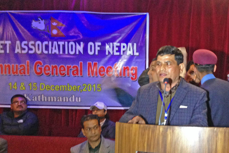Chatur Bahadur Chand speaking at CAN's executive AGM on Monday evening, December 14, 2015.