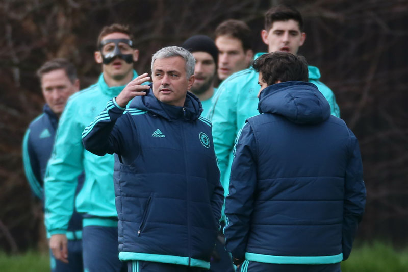 Chelsea manager Jose Mourinho reacts during a team training session at the Stamford Bridge Stadium in London on Tuesday. Photo: Reuters
