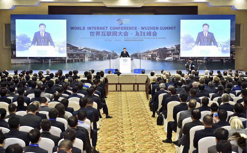 Chinese President Xi Jinping delivers a keynote speech at the opening ceremony of the Second World Internet Conference in Wuzhen Town, east China's Zhejiang Province on Wednesday, December 16, 2015. Photo: AP