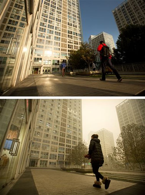 This combination of photos taken on Sunday, November 1, 2015 (top) and on Tuesday, December 1, 2015 (bottom) show pedestrians walking through a shopping and office complex in Beijing amid widely differing levels of air pollution. Schools in Beijing were ordered to keep students indoors on Tuesday, December 1, 2015 after record-breaking air pollution in the Chinese capital soared to up to 35 times the safe levels. Photo: AP