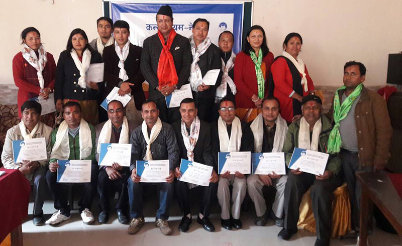 The new executive committee of Consortium Nepal poses for a photograph after its election in Kathmandu on Sunday, December 6, 2015. Photo: Consortium