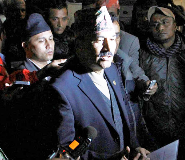 Deputy Prime Minister Kamal Thapa briefing the media about the major parties' decision regarding the resolution of Madhes agitation, at Prime Minister's official residence in Baluwatar on Friday evening, December 4, 2015. Photo: RSS