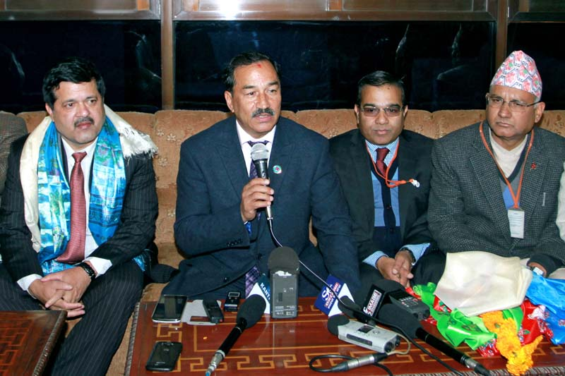 Deputy Prime Minister and Minister for Foreign Affairs Kamal Thapa speaking with the media upon his arrival from six-day official visit to China at the Tribhuvan International Airport (TIA) on Tuesday, December 29, 2015. Photo: RSS