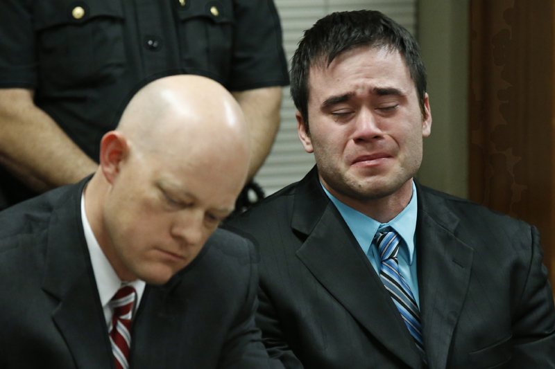 Daniel Holtzclaw (right) cries as the verdicts are read in his trial in Oklahoma City, Thursday, December 10, 2015. Photo: AP