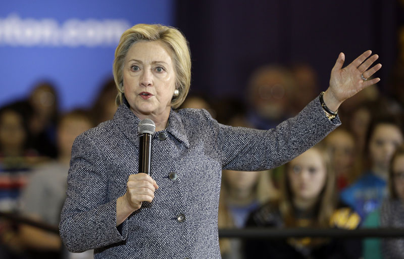 Democratic presidential candidate Hillary Clinton speaks during a town hall meeting at Keota High School in Keota, Iowa on December 22, 2015. Photo: AP