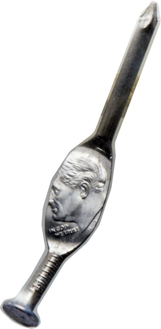 This photo provided by Heritage Auctions shows a Roosevelt Dime that was minted onto a nail. In probably one of the oddest items to come to the world of coin collecting, Heritage Auctions has announced the sale of a Roosevelt dime that was accidentally (or some say deliberately) struck onto a zinc nail.  (Heritage Auctions via AP)