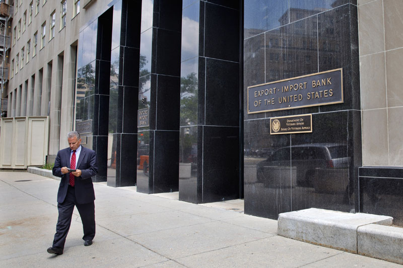 A man walks out of the Export-Import Bank of the US in Washington on July 28, 2015. Photo: AP
