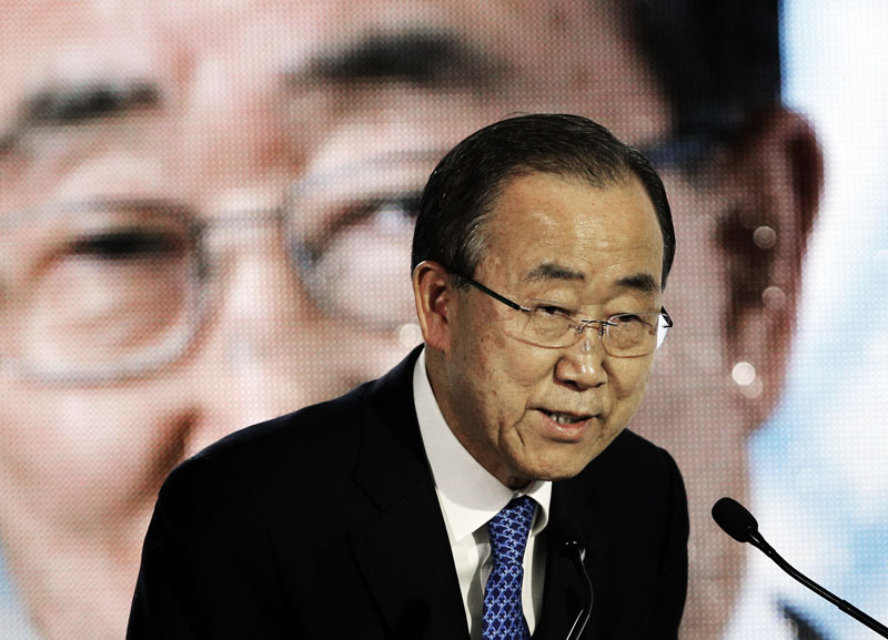 UN Secretary-General Ban Ki-moon, delivers a speech during a conference at the COP21, the United Nations Climate Change Conference on Thursday, December 10, 2015 in Le Bourget, north of Paris. Photo: AP