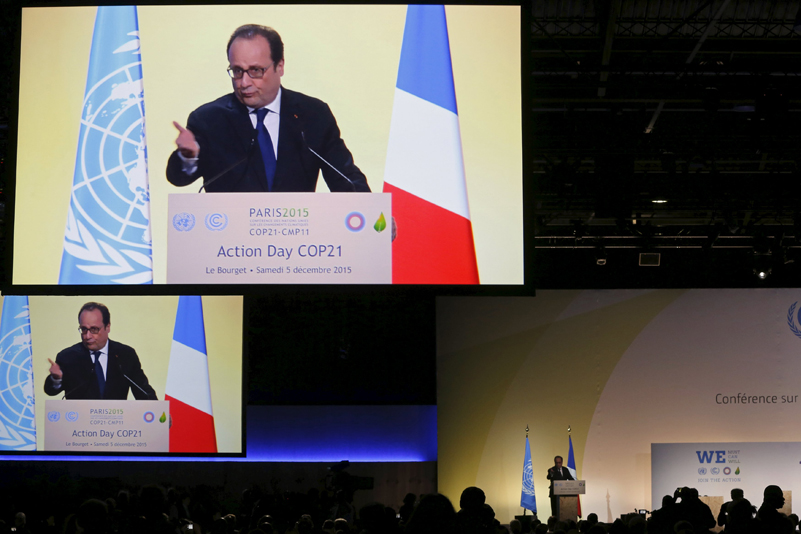 French President Francois Hollande delivers his speech during the Action Day at the World Climate Change Conference 2015 (COP21) at Le Bourget, near Paris, France, December 5, 2015. Photo: Reuters