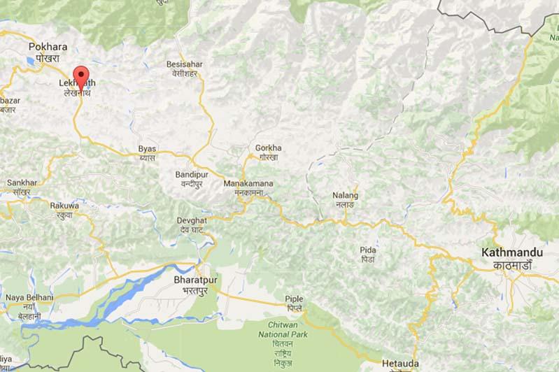 Gagandaunda of Lekhanath Municipality-12. Source: Google Maps