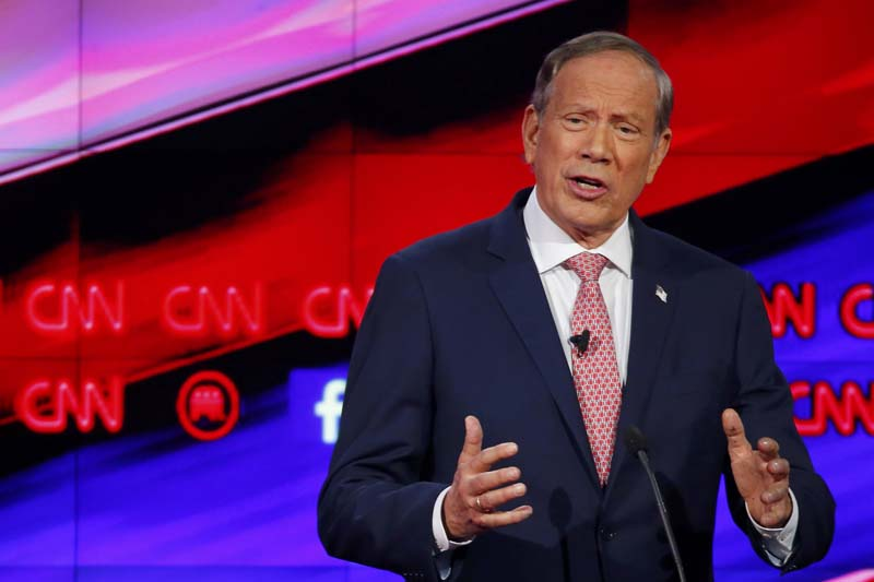 Republican US presidential candidate former New York Governor George Pataki answers questions from moderator Wolf Blitzer (not seen) during a forum for lower polling candidates held prior to the Republican presidential debate in Las Vegas, Nevada on December 15, 2015. Photo: Reuters