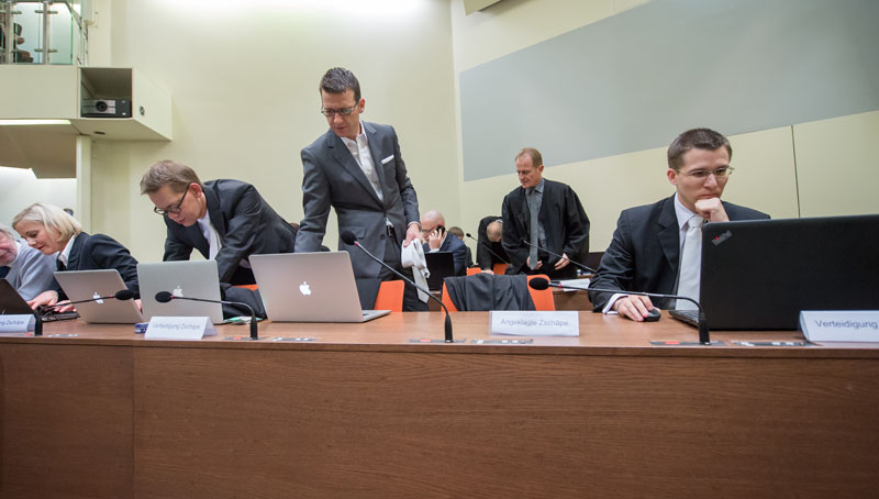 The four lawyers of Beate Zschaepe Anja Sturm, Wolfgang Heer, Wolfgang Stahl and Mathias Grasel (from left) prepare for the trial at a court room in Munich, southern Germany on Tuesday, November 10, 2015. Photo: AP