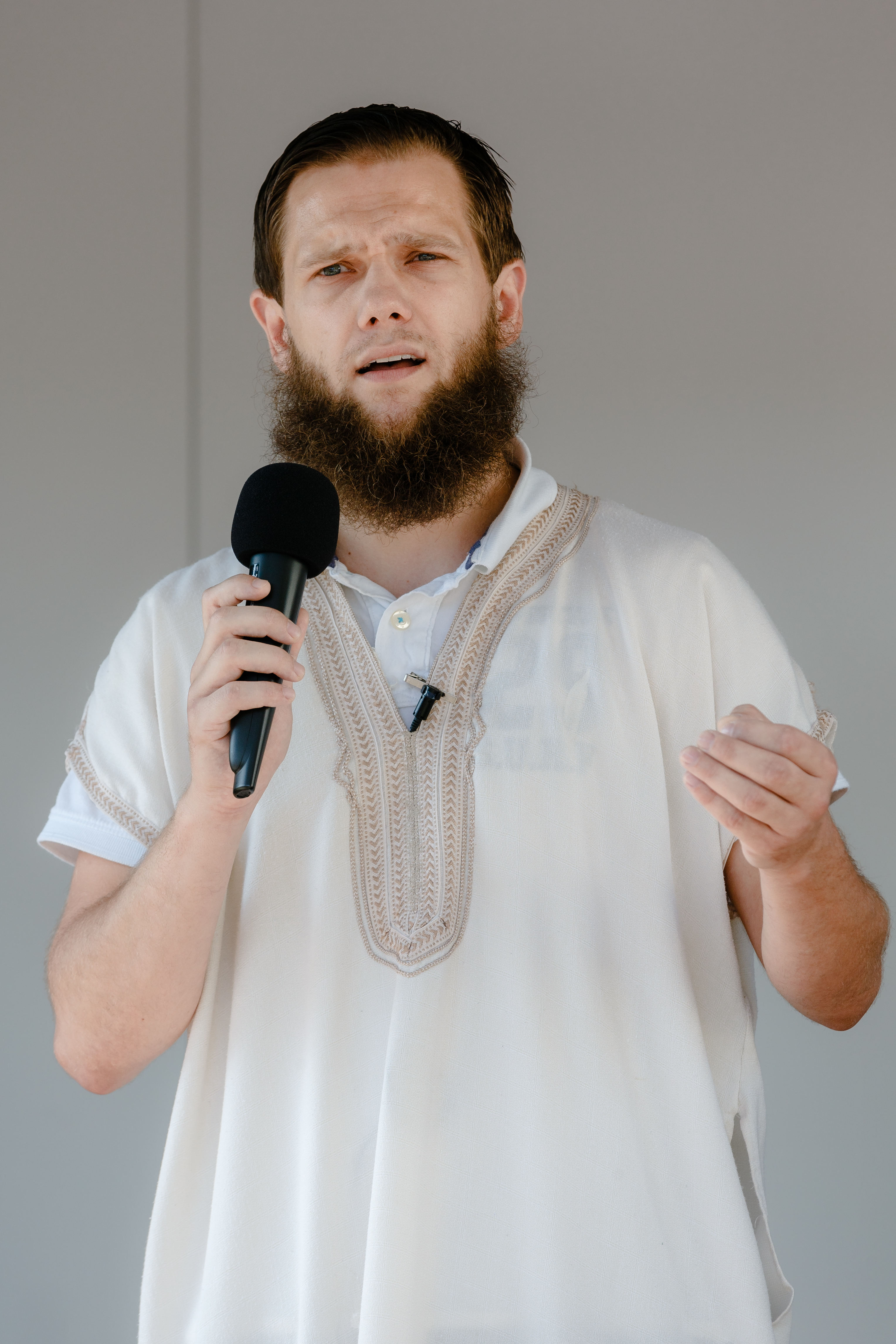 FILE - In this July 19, 2014 file photo Sven Lau speaks during a rally in Hamburg, northern Germany. Lau, one of Germany's most prominent Islamic extremists has been arrested Tuesday, Dec. 15, 2015. Photo: AP