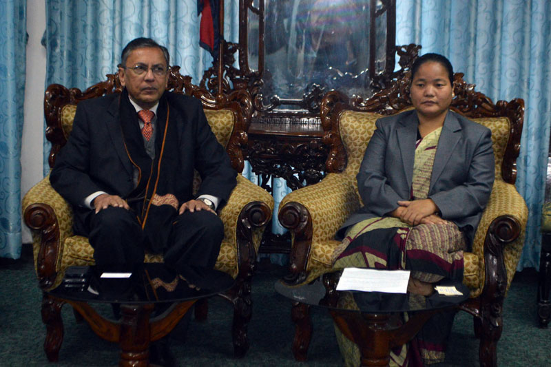 Speaker Onsari Gharti Magar (right) and Indian Ambassador to Nepal Ranjit Rae in a meeting at the Speaker's Office in Singha Durbar on Tuesday. Photo: RSS