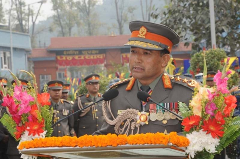 Inspector General of the Armed Police Force (APF) Kosh Raj Onta speaking at a special function on the occasion of the 14th APF Day in Kathmandu, November16, 2014. Photo: APF/File