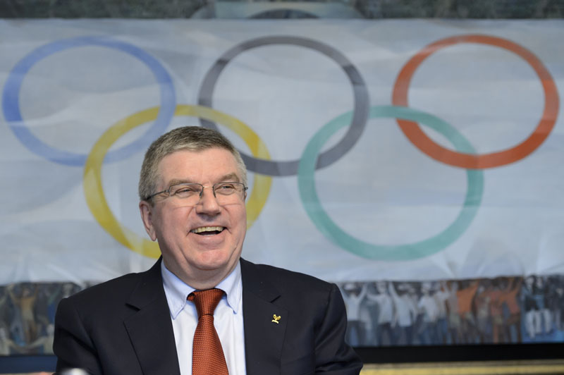International Olympic Committee (IOC) president, German Thomas Bach laughs during a media round table on the eve of an executive board meeting at the IOC headquarters, in Lausanne, Switzerland on Monday, December 7, 2015. Photo: AP