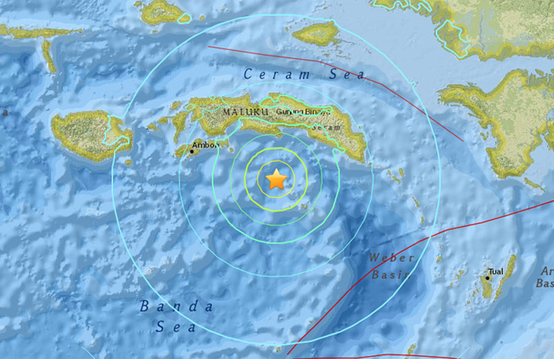 The US Geological Survey shows the magnitude-6.9 quake hit Wednesday afternoon 106 kilometers (66 miles) southeast of Amahai, a town on Seram, the biggest island in Maluku province. The quake was centered in the Banda Sea at a depth of 33.9 kilometers (21 miles). Image: usgs